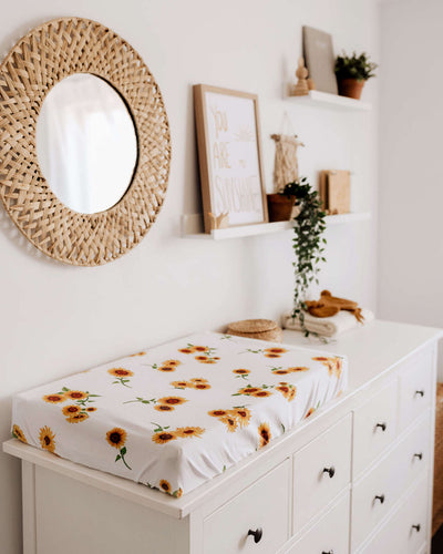 Sunflower Bassinet Sheet / Change Pad Cover - nursery decor