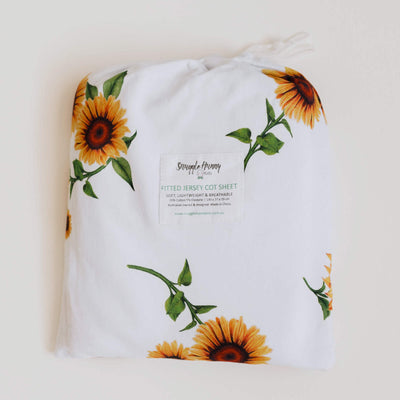 Sunflower Fitted Cot Sheet - nursery decor