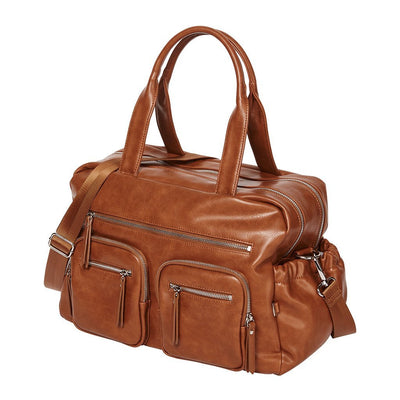 OiOi Faux Leather Carry All Nappy Bag-Tan