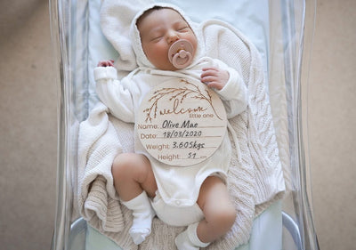 Wooden 'Welcome Little One' Birth Announcement Disc- Whimsical - nursery decor