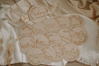 Wooden Month Milestone Card Discs- Whimsical - nursery decor
