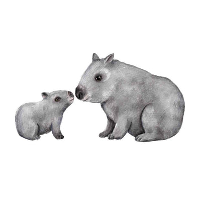 Wombats- Hand Drawn Watercolour Decal - nursery decor