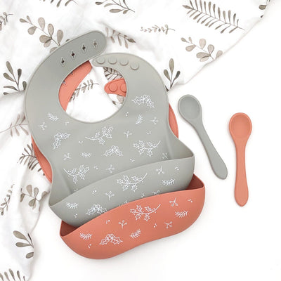 Silicone Catch Bib & Spoon Set- Limited Christmas Edition Silver Sage