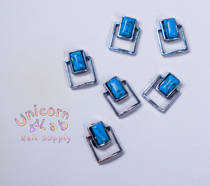 Blue marbled square 3D charms x 6 pcs - Emerson Crystals