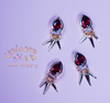 Ruby Dangle 3D charms x 6 pcs - Emerson Crystals