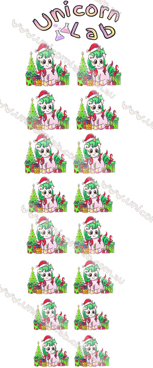 Unicorn Christmas Waterslide Decals