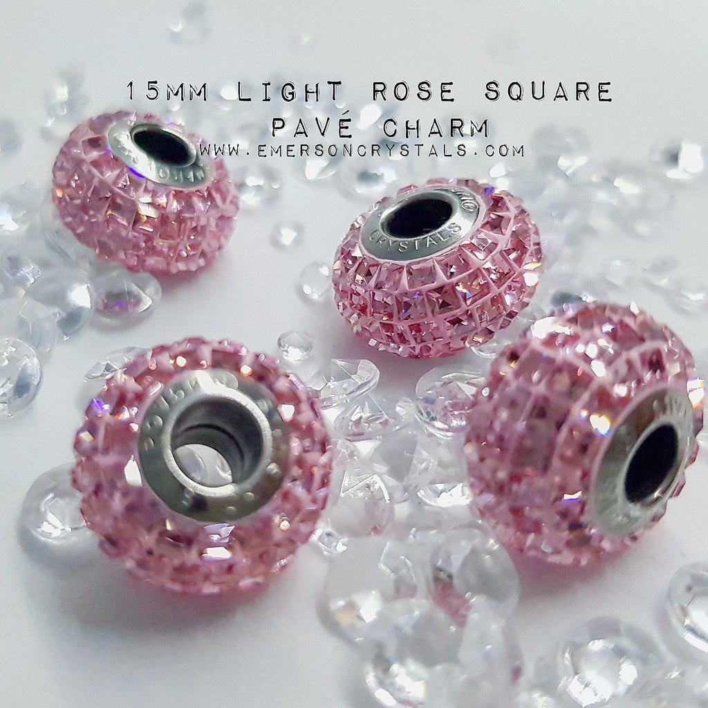 Light Rose Pave charm 15mm Square (80201) - Emerson Crystals