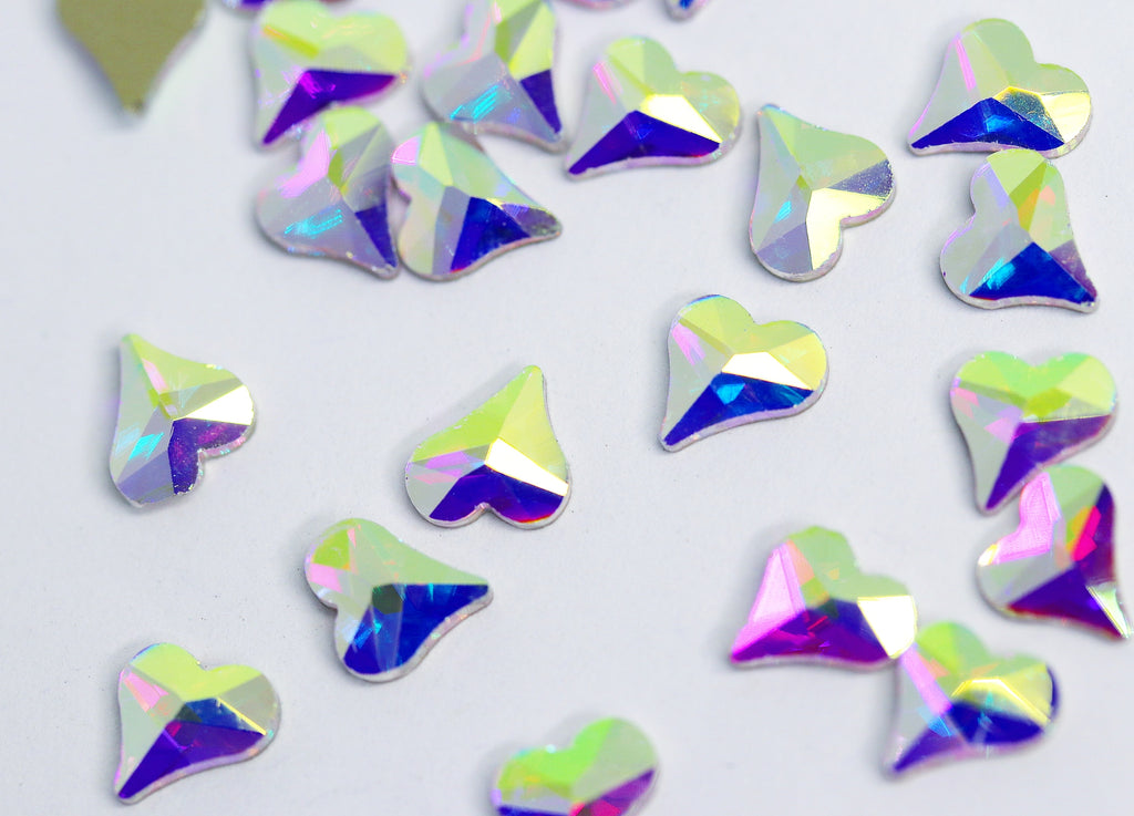 AB Heart 6mm (Unicorn Lab Rhinestones)