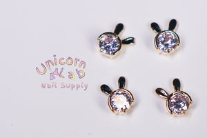 Gold Bunny 3D charms  x 4 pcs - Emerson Crystals