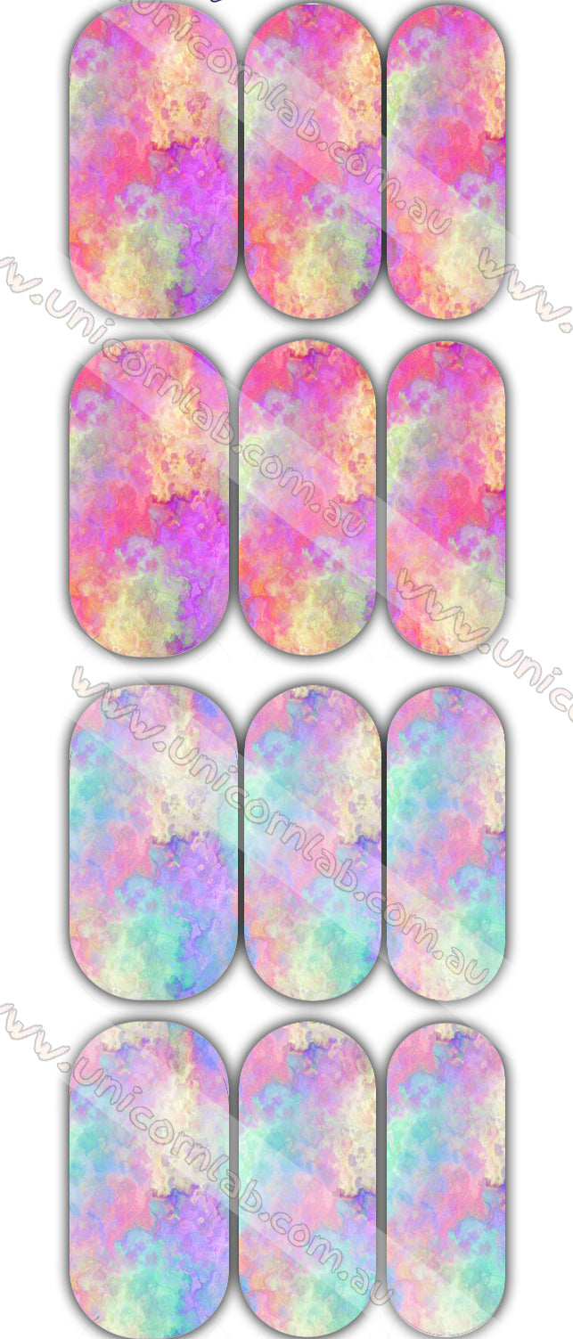 Pastel Tie Dye Duo Waterslide Decals