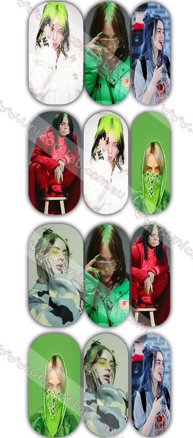 Billie Eilish Waterslide Decals - Emerson Crystals
