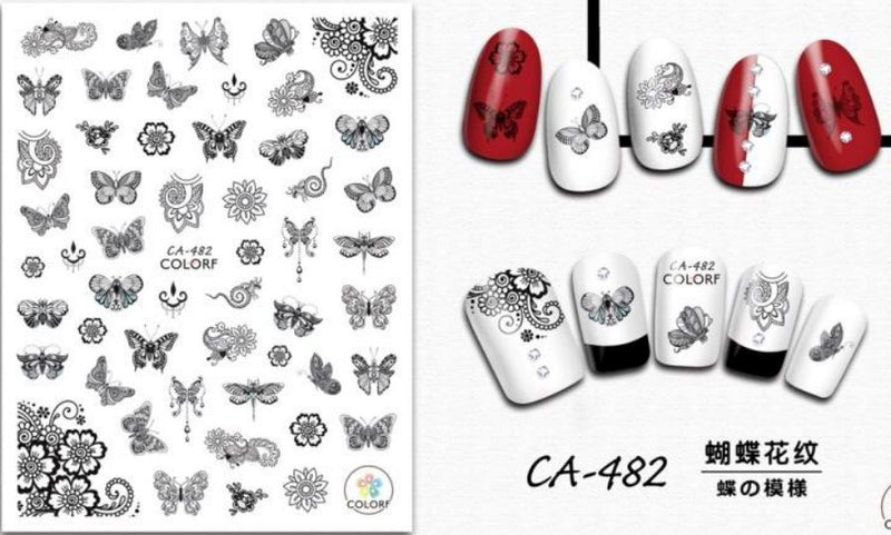 Nail Sticker - CA482 B&W Butterflies