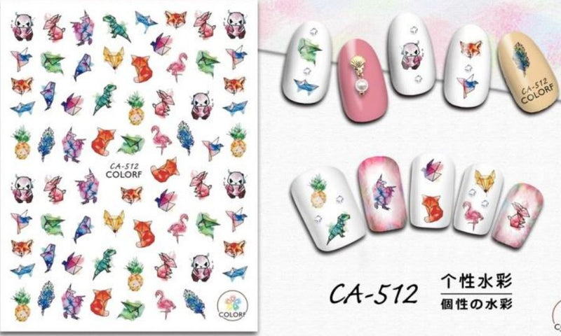 Nail Sticker - CA512 Watercolour Animals