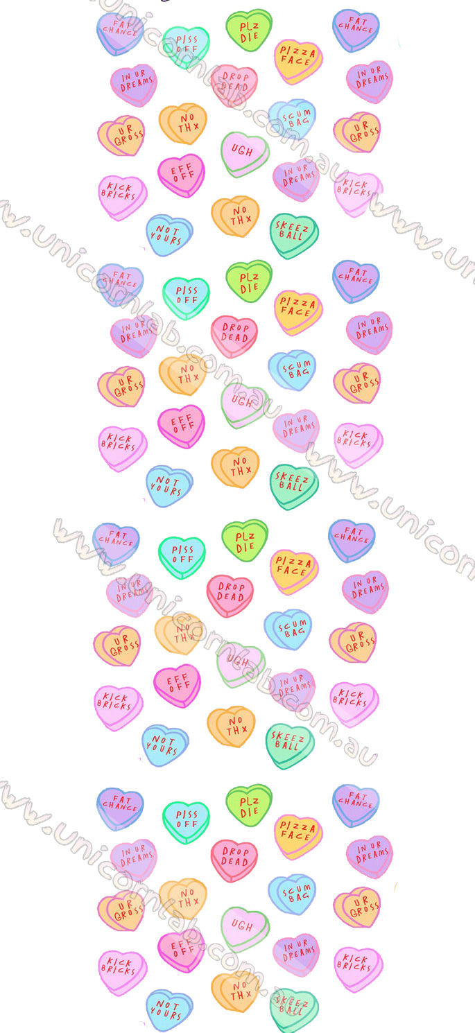 Anti Valentines Candy Hearts Waterslide Decals