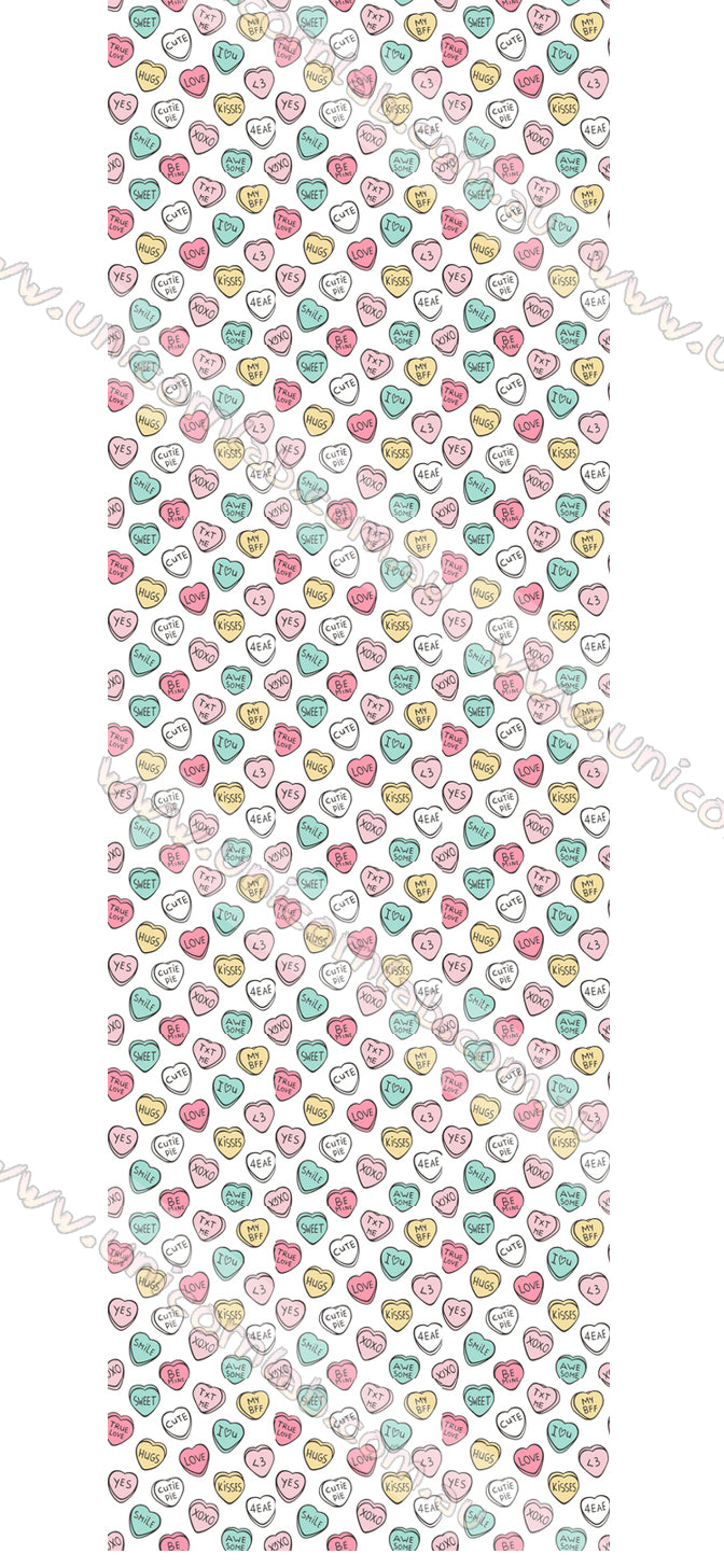 Cute Candy Hearts Waterslide Decals