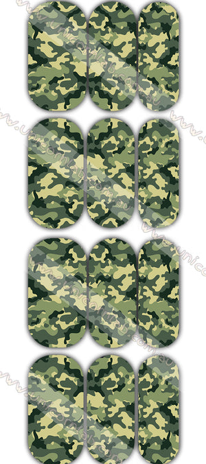 Green Camo Waterslide Decals - Emerson Crystals