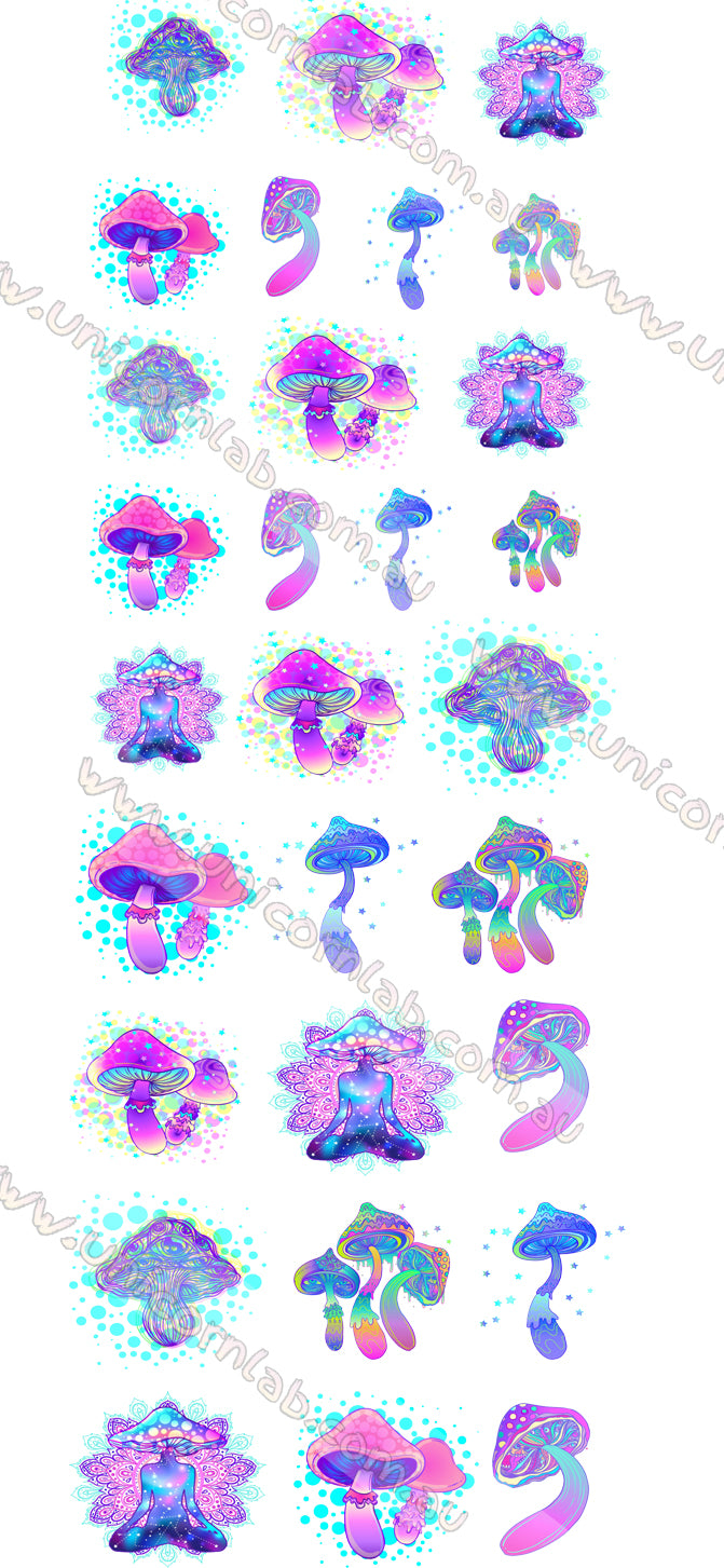 Magic Mushrooms Waterslide Decals