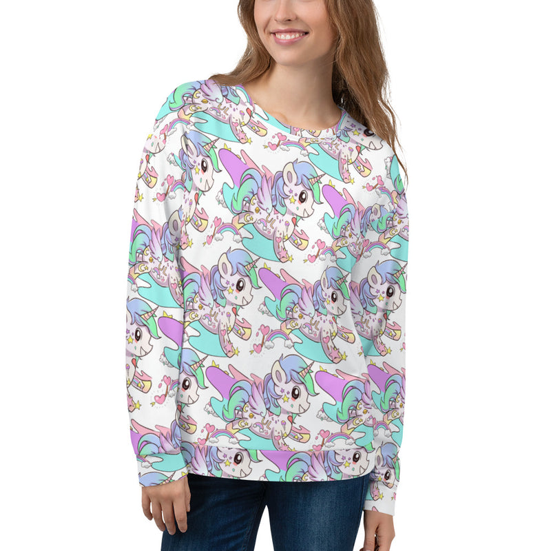 White Tattoo Unicorn Unisex Sweatshirt - Emerson Crystals