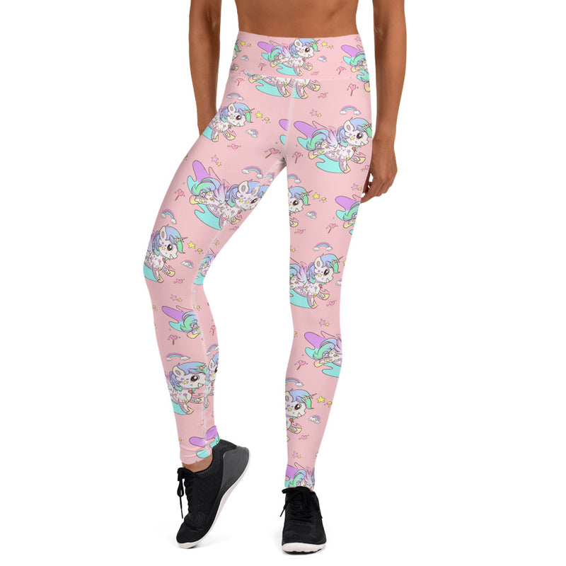 Pink High Waisted Tattoo Yoga Leggings - Emerson Crystals