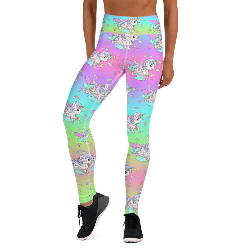 Rainbow High Waisted Tattoo Yoga Leggings - Emerson Crystals