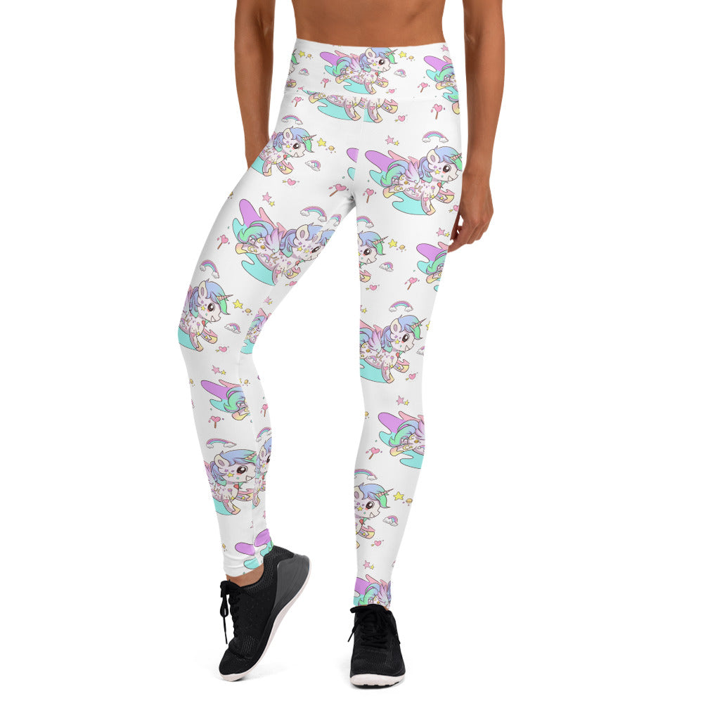 White High Waisted Tattoo Yoga Leggings - Emerson Crystals