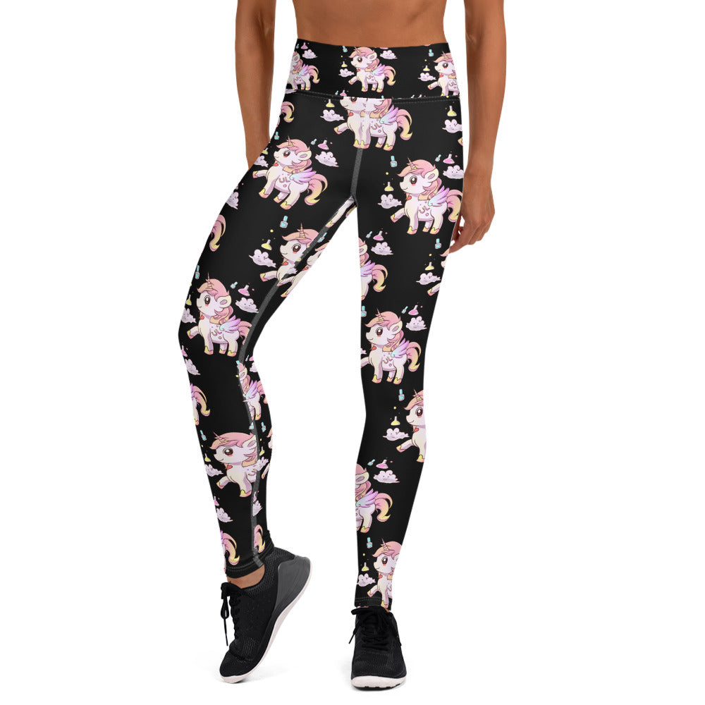 Black High Waisted Yoga Lulu Leggings - Emerson Crystals