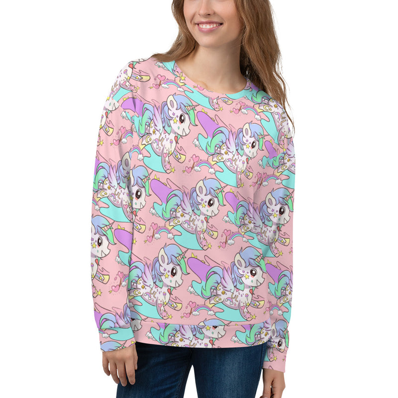 Pastel Pink Tattoo Unicorn Unisex Sweatshirt - Emerson Crystals