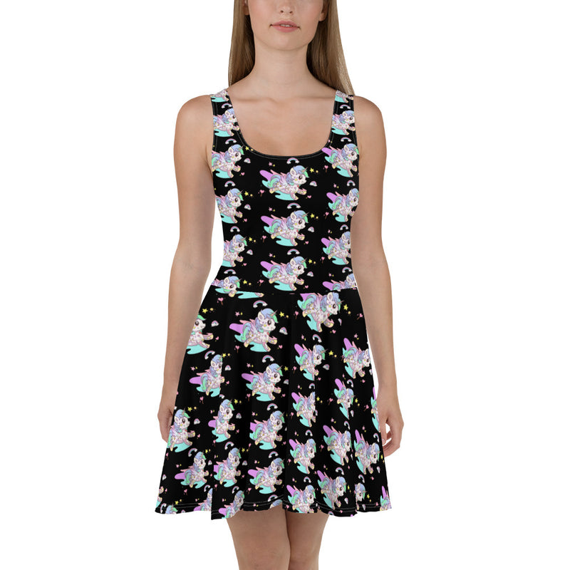 Black Tattoo Unicorn Skater Dress - Emerson Crystals