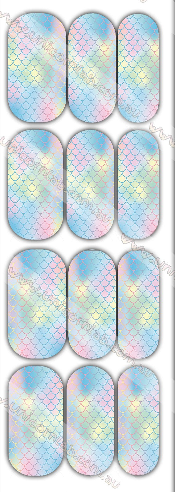 Pastel Mermaid Scales Waterslide Decals - Emerson Crystals