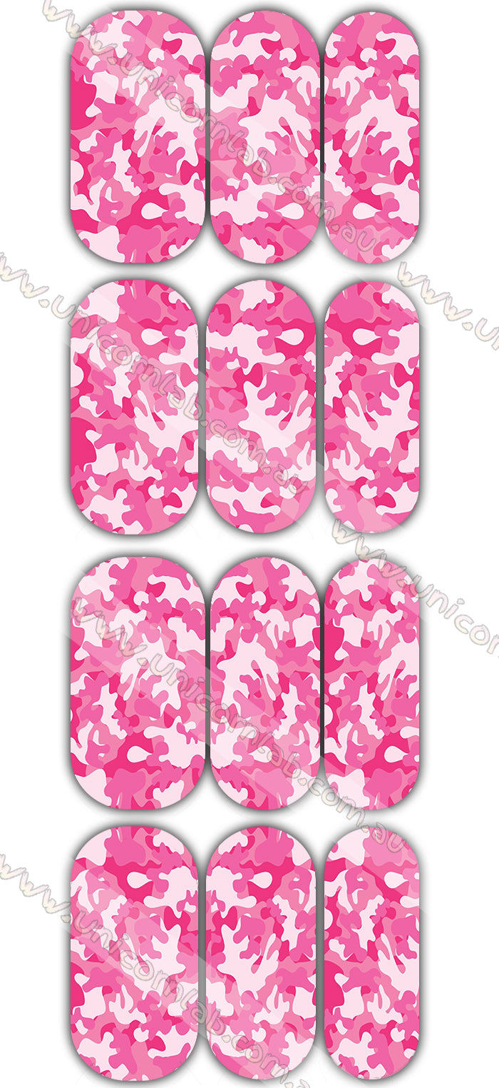 Pink and White Camo Waterslide Decals - Emerson Crystals