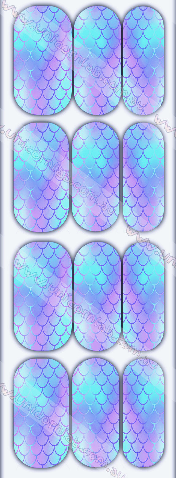 Purple Mermaid Scales Waterslide Decals
