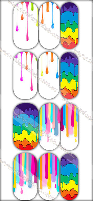 Rainbow Drip Waterslide Decals - Emerson Crystals