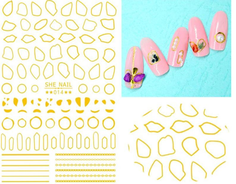 Nail Sticker - Design SH14 GOLD - Emerson Crystals