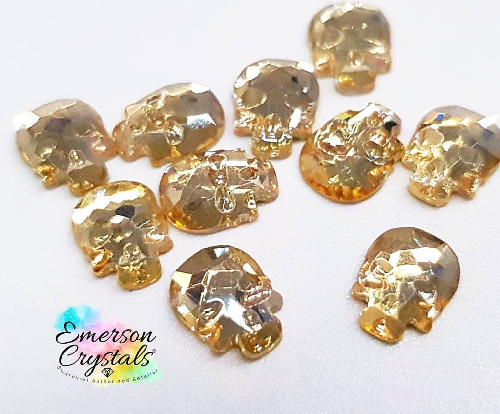 Light Gold Skull Rhinestone 6mm x5 - Emerson Crystals