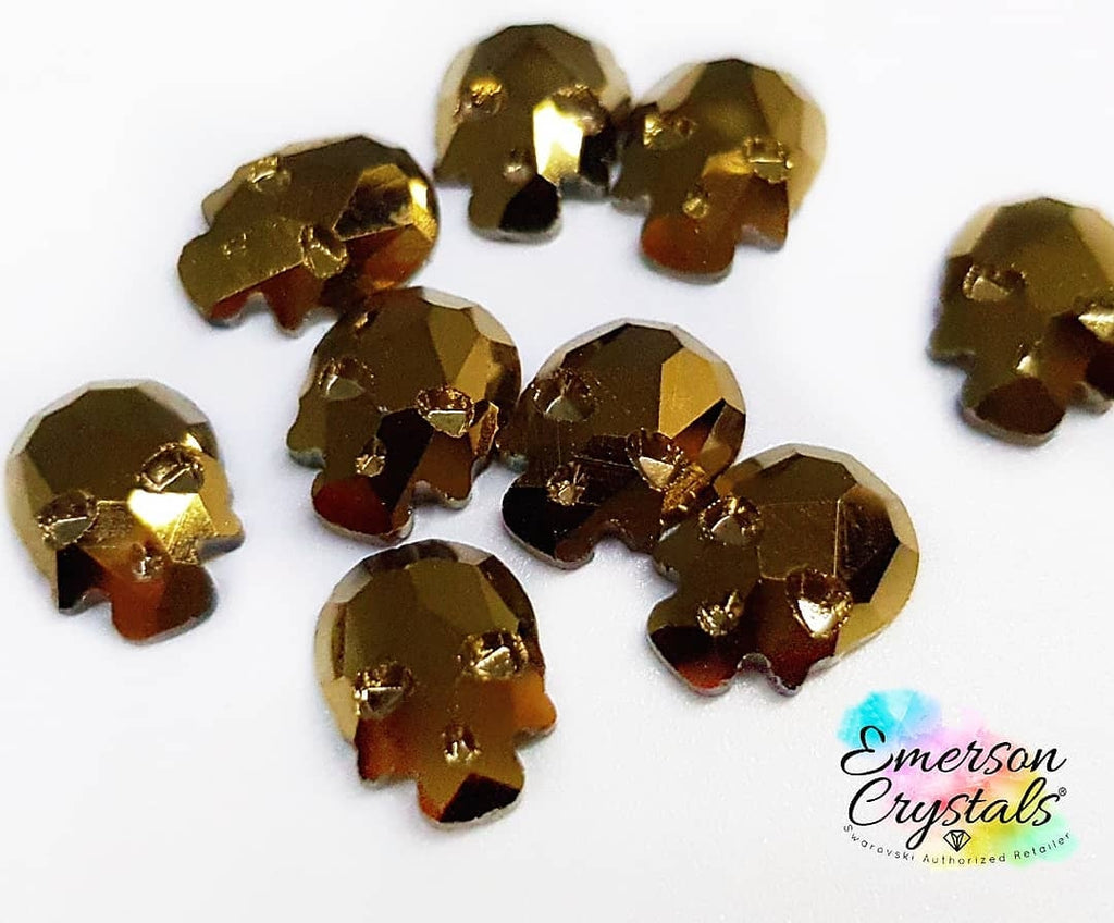 Gold Skull Rhinestone 8mm x5 - Emerson Crystals