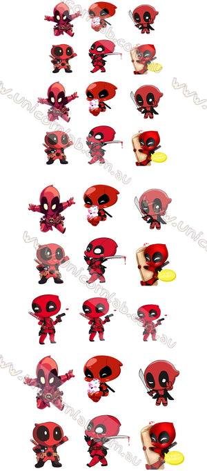 Deadpool chibi Waterslide Decals