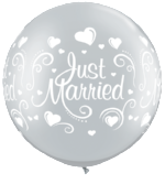 "90cm Latex print - ""Just Married"" Silver pkt 1"
