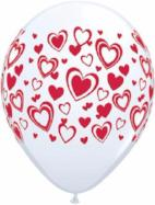 Balloons - 30cm Hearts prints pkt 6 (3 x white 3 x red)