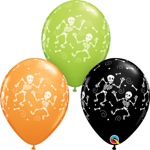 Balloons 30 cm - skeleton prints black/lime/orange pkt 6