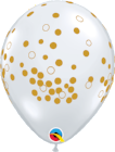 Balloons - 30cm print Clear Confetti Gold pkt 6