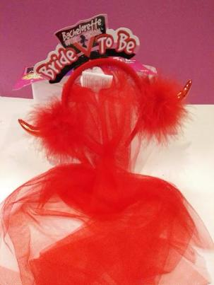 Red Bridal Veil fun headdress