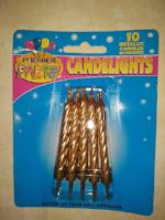 Metallic Candles in holders- GOLD pkt 10