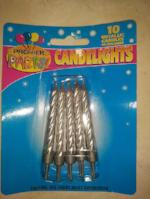 Metallic Candles in holders - SILVER pkt 10