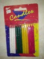 Glitter Candles Multi color pkt 12
