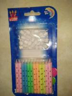 Polka dot neon with holders pkt 24