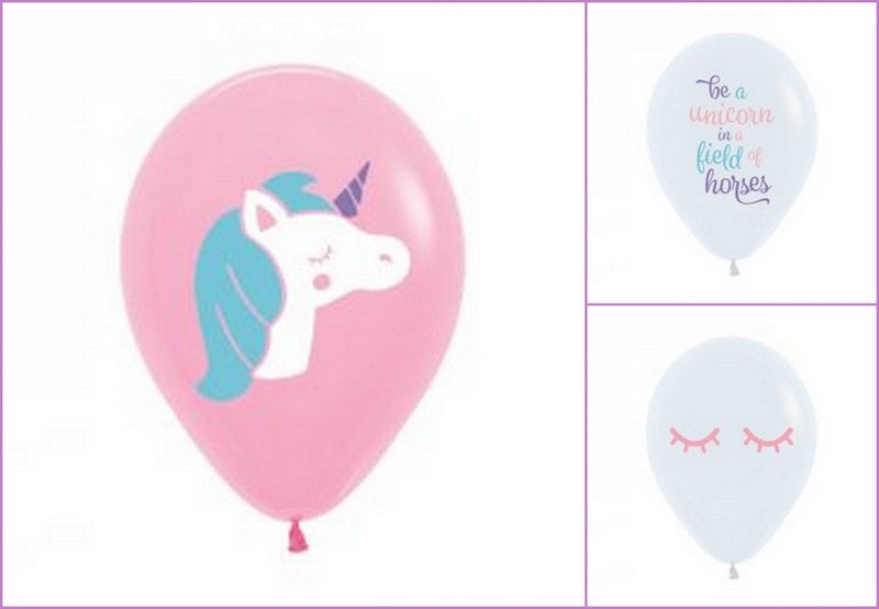 Balloons - 30cm prints - Unicorn Mix pkt 6