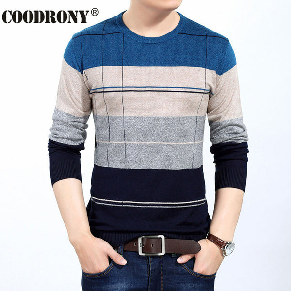 Autumn Winter Men Knitted Cashmere Wool Pullove