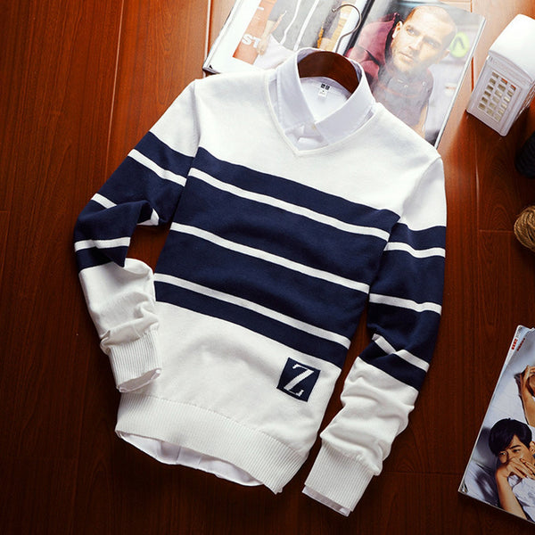 Men's V-neck stripe color Wool leisure sweater