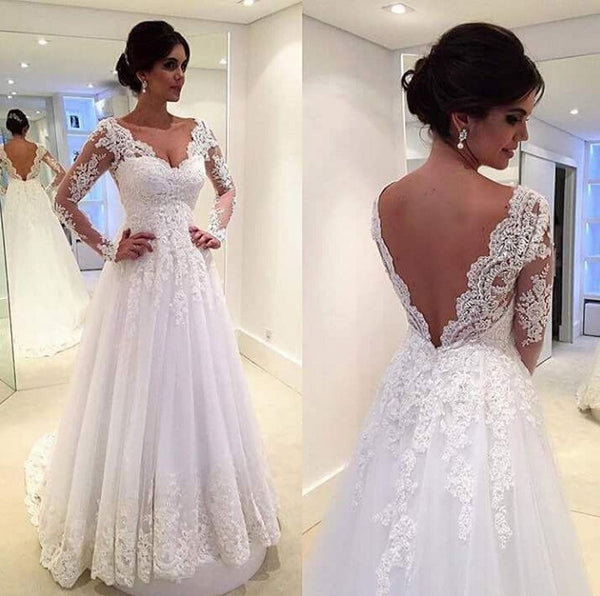 Vestido de noiva Vintage Long Sleeves Wedding Dresses