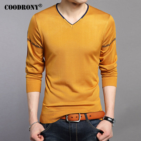 Men V-Neck Knitted Cotton Wool Pullover